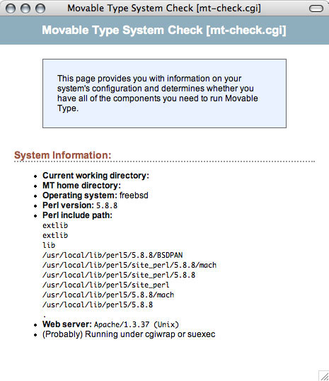 Movable Type System Check