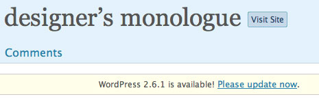 WordPress 2.6.1 is available! Please update now.